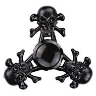 Triple Skull Aluminum Alloy Fidget Finger Spinner Hand Spinning Toy - Black