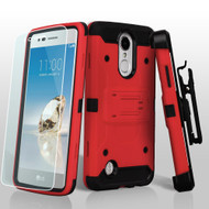 Kinetic Hybrid Armor Case with Holster and Tempered Glass for LG Aristo / Fortune / K8 2017 / Phoenix 3 - Red
