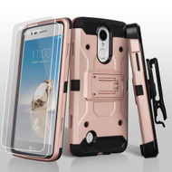 Kinetic Hybrid Armor Case with Holster and Tempered Glass for LG Aristo / Fortune / K8 2017 / Phoenix 3 - Rose Gold