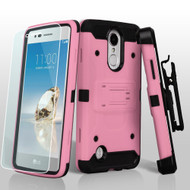 *SALE* Kinetic Hybrid Armor Case with Holster and Tempered Glass for LG Aristo / Fortune / K8 2017 / Phoenix 3 - Pink