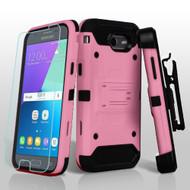 Kinetic Holster Case + Tempered Glass for Samsung Galaxy J3 (2017) / J3 Emerge / J3 Prime / Amp Prime 2 - Pink