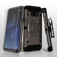 3-IN-1 Kinetic Hybrid Armor Case with Holster and Screen Protector for Samsung Galaxy S8 - Dark Grey