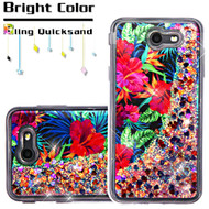 Quicksand Glitter Transparent Case for Samsung Galaxy J7 (2017) / J7 V / J7 Perx - Hibiscus