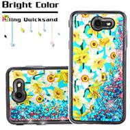 Quicksand Glitter Transparent Case for Samsung Galaxy J7 (2017) / J7 V / J7 Perx - Spring Daffodils