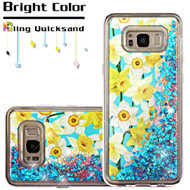 Quicksand Glitter Transparent Case for Samsung Galaxy S8 Plus - Spring Daffodils