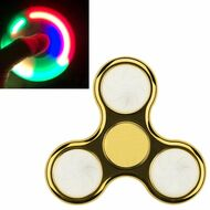 LED Light Chrome Plated Fidget Finger Spinner Hand Spinning Toy - Gold