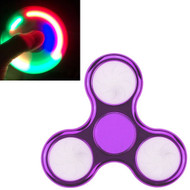 LED Light Chrome Plated Fidget Finger Spinner Hand Spinning Toy - Purple