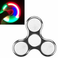 LED Light Chrome Plated Fidget Finger Spinner Hand Spinning Toy - Silver