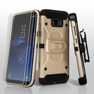 3-IN-1 Kinetic Hybrid Armor Case with Holster and Screen Protector for Samsung Galaxy S8 Plus - Gold