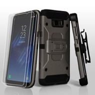 3-IN-1 Kinetic Hybrid Armor Case with Holster and Screen Protector for Samsung Galaxy S8 Plus - Dark Grey