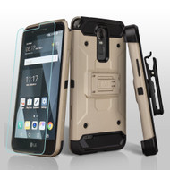 3-IN-1 Kinetic Hybrid Armor Case with Holster and Shatter-Proof Screen Protector for LG Stylo 3 / Stylo 3 Plus - Gold