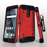 3-IN-1 Kinetic Hybrid Armor Case with Holster and Shatter-Proof Screen Protector for LG Stylo 3 / Stylo 3 Plus - Red