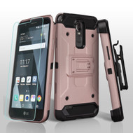 Kinetic Hybrid Case with Holster and Shatter-Proof Screen Protector for LG Stylo 3 / Stylo 3 Plus - Rose Gold