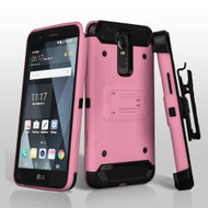 *SALE* 3-IN-1 Kinetic Hybrid Case with Holster and Shatter-Proof Screen Protector for LG Stylo 3 / Stylo 3 Plus - Pink