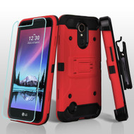 Kinetic Hybrid Case + Holster + Tempered Glass Screen Protector for LG K20 Plus / K20 V / K10 (2017) / Harmony - Red