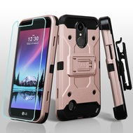 Kinetic Hybrid Case + Holster + Tempered Glass Protector for LG K20 Plus / K20 V / K10 (2017) / Harmony - Rose Gold