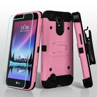 Kinetic Hybrid Case + Holster + Tempered Glass Protector for LG K20 Plus / K20 V / K10 (2017) / Harmony - Pink
