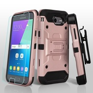 Kinetic Holster Case + Tempered Glass for Samsung Galaxy J3 (2017) / J3 Emerge / J3 Prime / Amp Prime 2 - Rose Gold