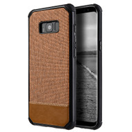 *Sale* Tough Anti-Shock Hybrid Case with Canvas Backing for Samsung Galaxy S8 - Brown
