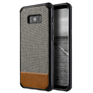 Tough Anti-Shock Hybrid Case with Canvas Backing for Samsung Galaxy S8 Plus - Grey