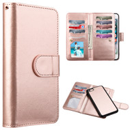 Luxury Timberland Series Double Flop Leather Wallet with Removable Magnet Case for iPhone 8 / 7 - Rose Gold