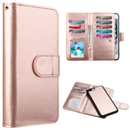 Luxury Timberland Series Double Flop Leather Wallet with Removable Magnet Case for iPhone 7 Plus - Rose Gold