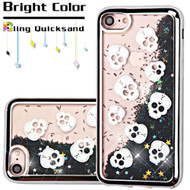 *Sale* Electroplating Quicksand Glitter Transparent Case for iPhone 8 / 7 - Skulls Silver