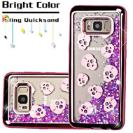 Electroplating Quicksand Glitter Transparent Case for Samsung Galaxy S8 Plus - Skulls Rose Gold