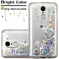 Diamond Quicksand Glitter Transparent Case for LG Aristo / Fortune / K8 2017 / Phoenix 3 - Silver