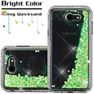 Diamond Quicksand Glitter Transparent Case for Samsung Galaxy J7 (2017) / J7 V / J7 Perx - Green