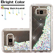 Diamond Quicksand Glitter Transparent Case for Samsung Galaxy S8 Plus - Silver