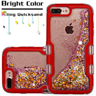 TUFF Quicksand Glitter Hybrid Armor Case for iPhone 8 Plus / 7 Plus / 6S Plus / 6 Plus - Red Pink