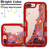 TUFF Quicksand Glitter Hybrid Armor Case for iPhone 8 Plus / 7 Plus / 6S Plus / 6 Plus - Red Magenta