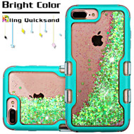*Sale* TUFF Quicksand Glitter Hybrid Armor Case for iPhone 6 Plus / 6S Plus / 7 Plus - Teal Fluorescent Green