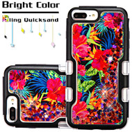 TUFF Quicksand Glitter Hybrid Armor Case for iPhone 8 Plus / 7 Plus / 6S Plus / 6 Plus - Electric Hibiscus