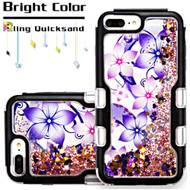 TUFF Quicksand Glitter Hybrid Armor Case for iPhone 8 Plus / 7 Plus / 6S Plus / 6 Plus - Purple Hibiscus Flower