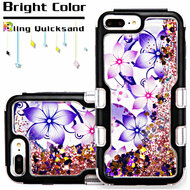*Sale* TUFF Quicksand Glitter Hybrid Armor Case for iPhone 6 Plus / 6S Plus / 7 Plus - Purple Hibiscus Flower Romance