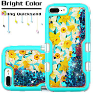 TUFF Quicksand Glitter Hybrid Armor Case for iPhone 8 Plus / 7 Plus / 6S Plus / 6 Plus - Spring Daffodils