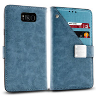 Cosmopolitan Leather Canvas Wallet Case for Samsung Galaxy S8 Plus - Blue