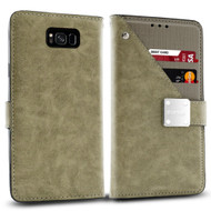 Cosmopolitan Leather Canvas Wallet Case for Samsung Galaxy S8 Plus - Grey
