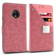 Cosmopolitan Leather Canvas Wallet Case for Motorola Moto G5 Plus - Pink