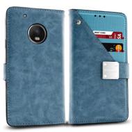 *SALE* Cosmopolitan Leather Canvas Wallet Case for Motorola Moto G5 Plus - Blue