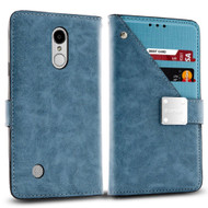 *SALE* Cosmopolitan Leather Canvas Wallet Case for LG Aristo / Fortune / K8 2017 / Phoenix 3 - Blue