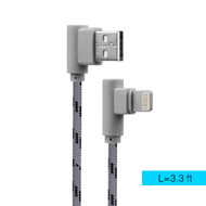 "Luxmo Braided Lightning ""L"" Connector to USB Charging and Sync Cable - Grey"