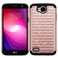 TotalDefense Diamond Hybrid Case for LG X Power 2 / Fiesta - Rose Gold