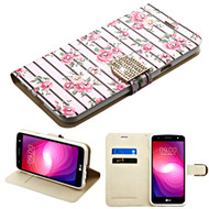 *SALE* Luxury Bling Portfolio Leather Wallet Case for LG X Power 2 / Fiesta - Pink Fresh Roses