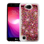 Quicksand Glitter Transparent Case for LG X Power 2 / Fiesta - Hot Pink