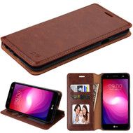 Book-Style Leather Folio Case for LG X Power 2 / Fiesta - Brown