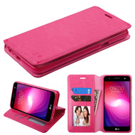 Book-Style Leather Folio Case for LG X Power 2 / Fiesta - Hot Pink