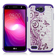 TotalDefense Diamond Hybrid Case for LG X Power 2 / Fiesta - Butterfly Purple